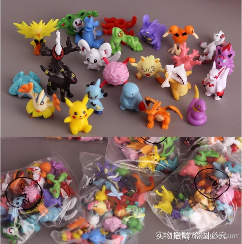 144pcs/lot 2-3cm size Pocket Monster Pikachu animal doll animal Action Figures model toy christmas gifts