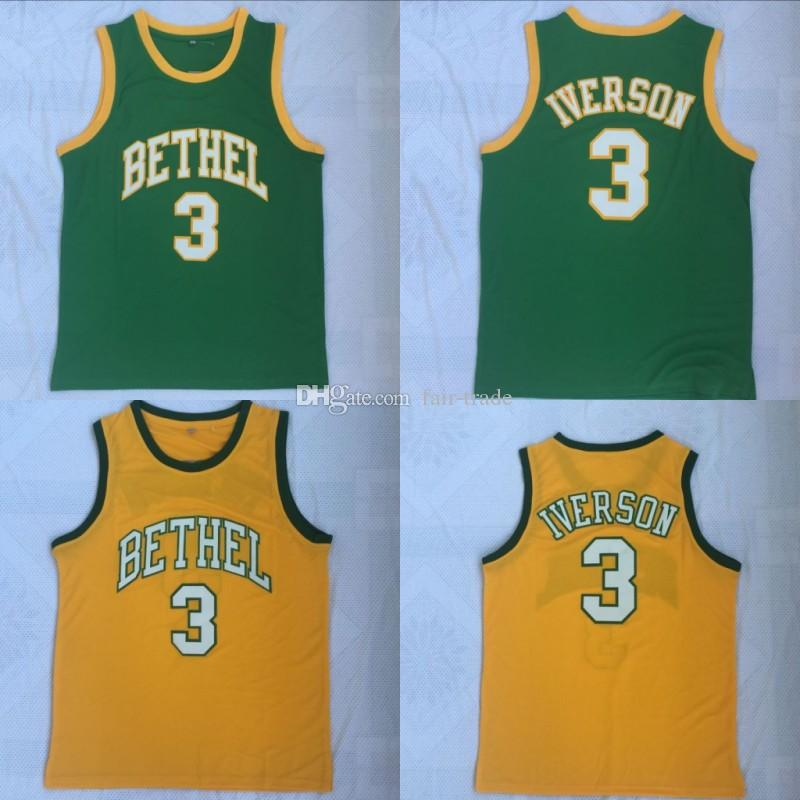buy popular 6fffd 89fb9 Men Bethel High School #3 Allen Iverson Jersey Green Yellow Embroidery  Cheap Iverson Basketball Jerseys Stitched