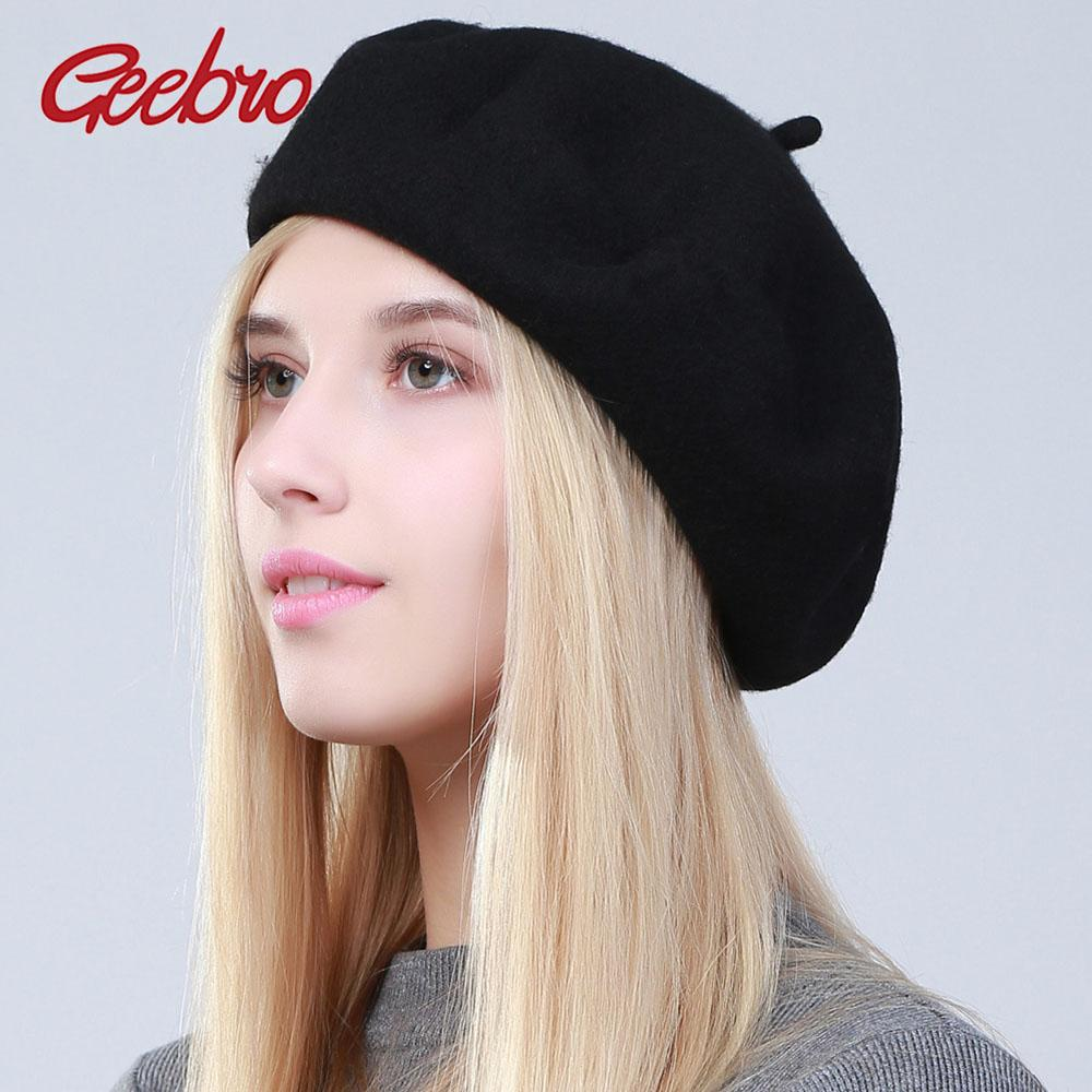bfbe1c15528 2019 Geebro Women S Cashmere Beret Winter Fashion Warm Candy Color Black Beret  Cap For Femme French Artist Berets Dropshipping DQ102X From Milknew