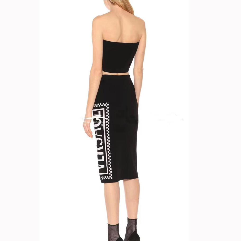f20d89566e 2019 Women Deigner Luxury Dress Suits Sexy Tube Top String + Over The Knee  Long Skirt 2019 Summer New Letter Knit Two Piece Skirt Suit From Uukef