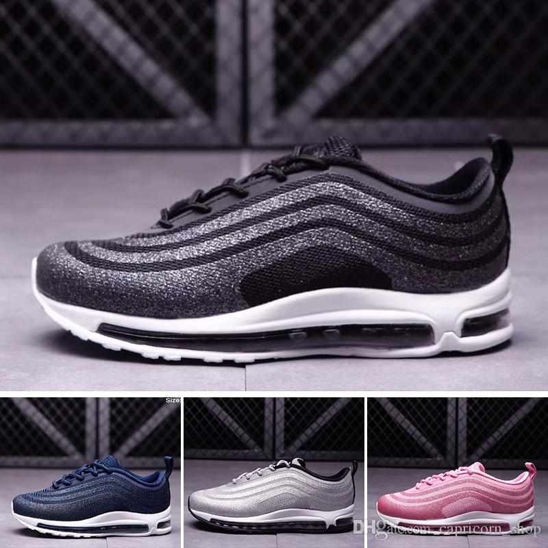 Nike air max 97 2018 97 LX Kids Shoes boys runner Silver Pink Blue Black Niños al aire libre niños pequeños atléticos niños grandes maxes