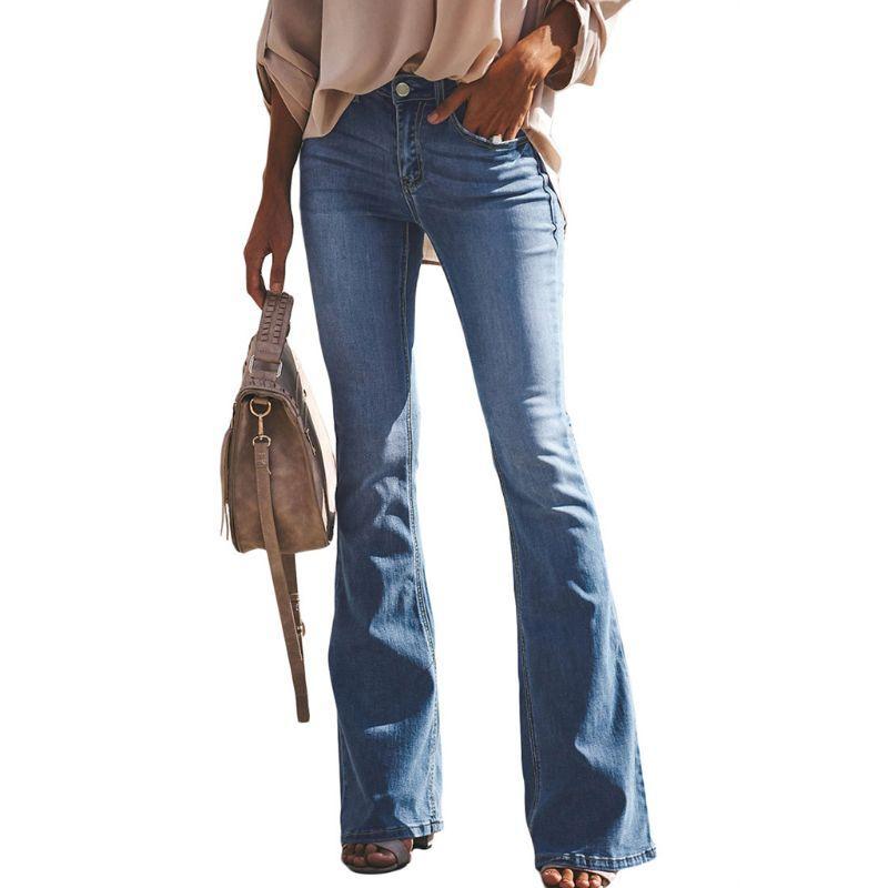f27f34f9a6 Jeans svasati a vita alta classici da donna Pantaloni a zampa d elefante  alla moda retrò a vita bassa lunghi anni 70