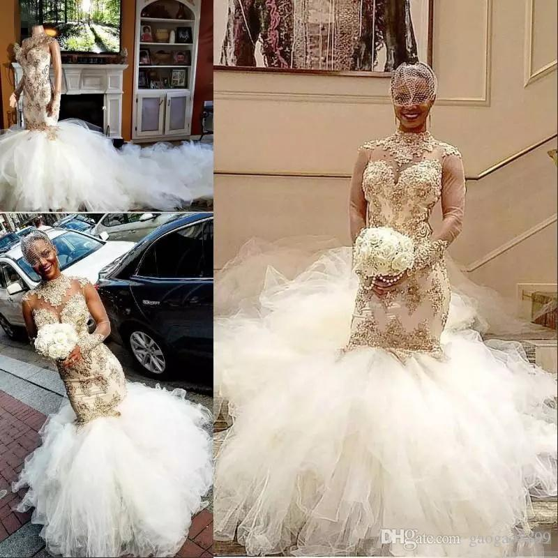 Sexy Nigerian African Mermaid Wedding Dresses High Neck Gold Beads Applique  Long Sleeves Glamorous Sheer Back Fluffy Court Train Bridal Gown Lace Gowns  ... d763343428ad