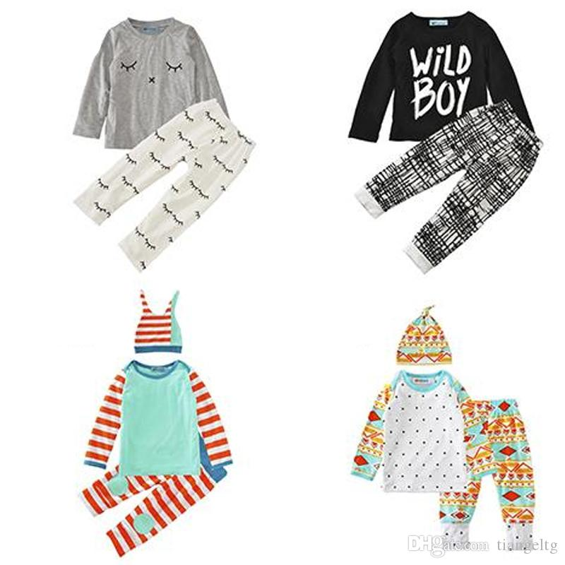 Boys Girls Clothing Sets 29 Colors Christmas Deer Winter Autumn Spring Casual Suits Shirts Pants Hat Infant Outfits Kids Tops & Shorts 0-24M