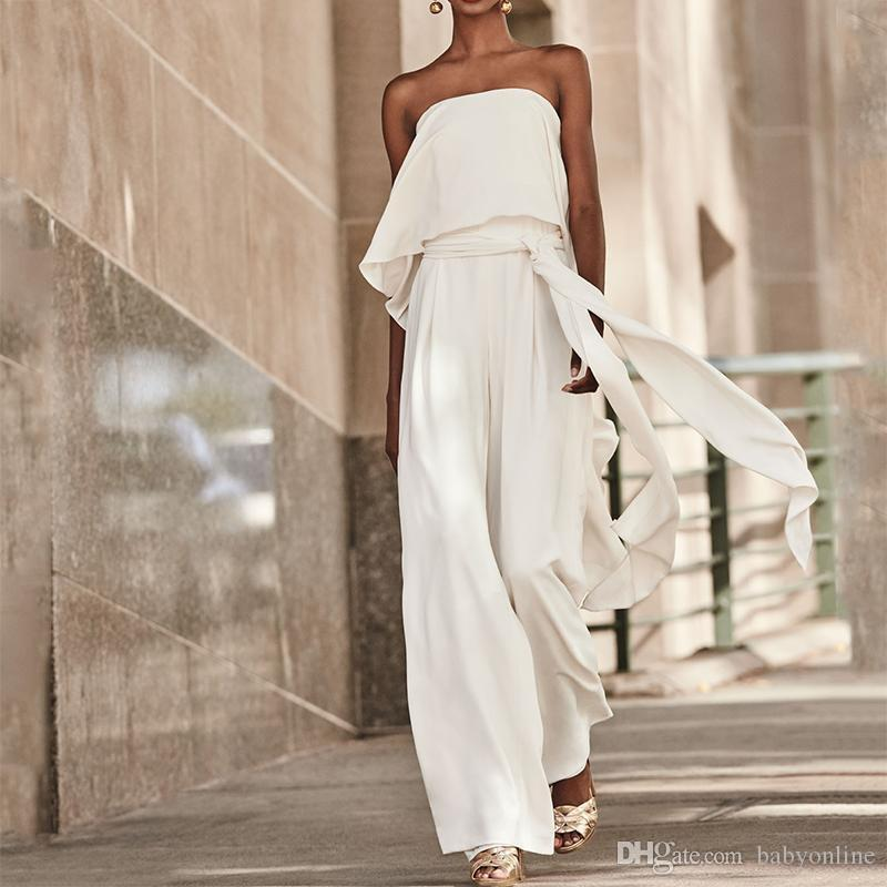 White Chiffon Front Silt Casual Style Backless Halter Top: Fashion 2019 White Wide Legs Women Jumpsuit Party Dresses