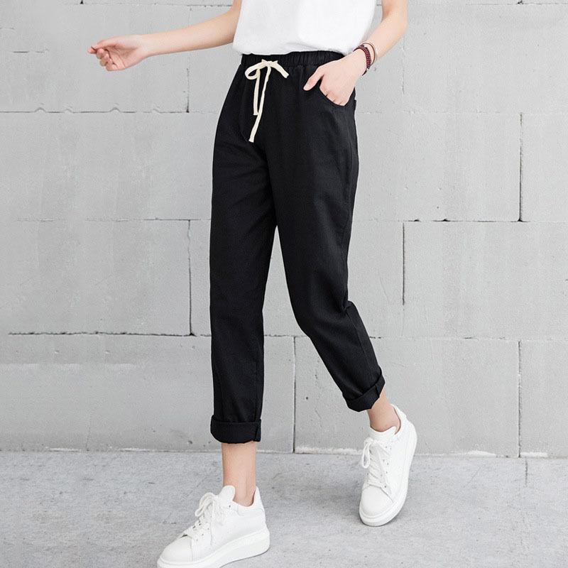 Women New Casual Harajuku Spring Autumn Big Size Long Trousers Solid Elastic Waist Cotton Linen Pants Ankle Length Haren Pants
