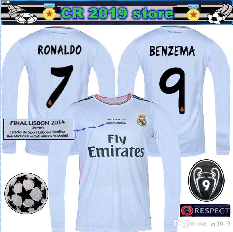 new product 3ca44 dd13d 2013 14 Real Madrid Retro Home Soccer Football Jersey BALE RONALDO KROOS  BENZEMA 2013 14 SERGIO RAMOS ASENSIO Long sleeve jersey