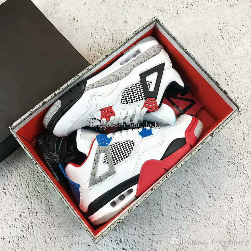 2019 New Fashion 4s Was die 4 Herren Basketball Schuhe Schwarz Blau Weiß Sport Sneaker Trainer Air Jumpman Herren Designer Chaussures