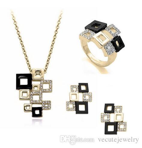 2017 18K Gold Plated black square Crystal jewelry set for women made with Swarovski Elements High Quality New Fashion Free Shipping