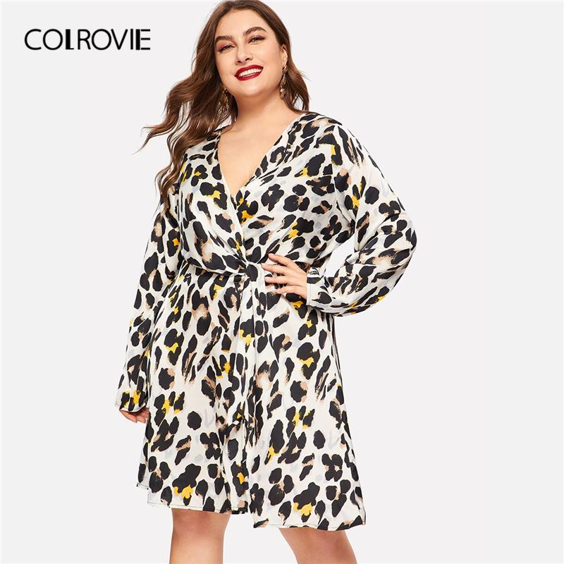 80b974a3f25a COLROVIE Plus Size Deep V Neck Leopard Print Wrap Elegant Dress Women 2019  Spring Fashion Long Sleeve Belted Casual Midi Dresses All White Summer Dress  ...