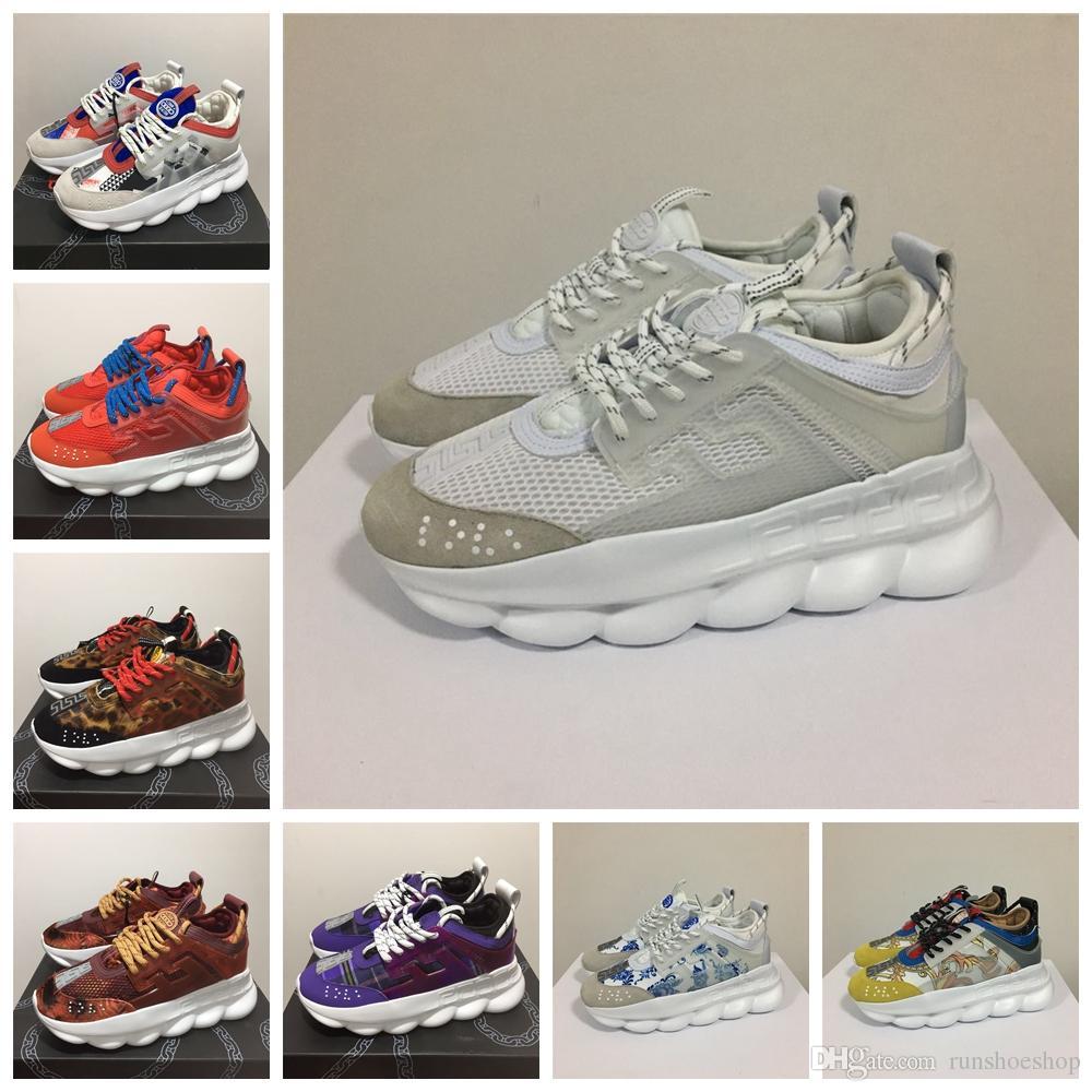 57b98a7e3c Versace Chain Reaction Luxury Designer 2019 Chain Reaction Luxury Shoes  Uomo Donna Sneakers Snow Leopard Blue Mesh Rubber Leather moda donna scarpe  ...
