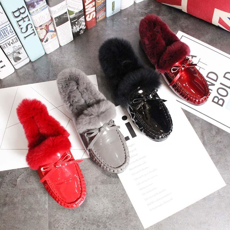 621742be5da6e Full Manual Warm Plush Fur Moccasins Trend Bowtied Chaussures Femme  Waterproof Patent Leather Flats Furry Loafers Shoes Woman Footwear Sport  Shoes From ...