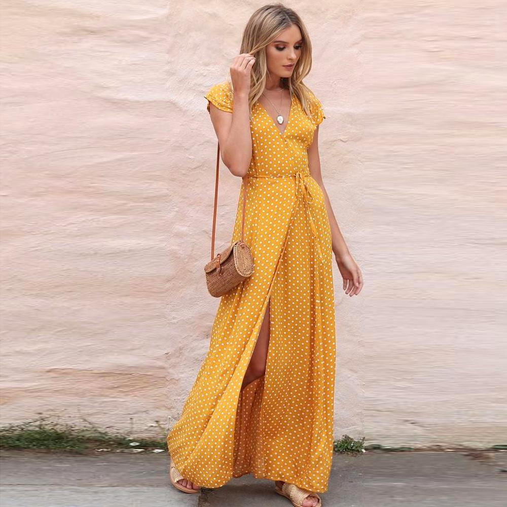 bf3bb818edf9 2019 Womens Summer Sundress Dot Long Boho Dress Lady Beach Maxi Dress  Clothes Fashion Long Party Dress Robe Femme Ete 2018 Y19012201 From Tao02,  ...