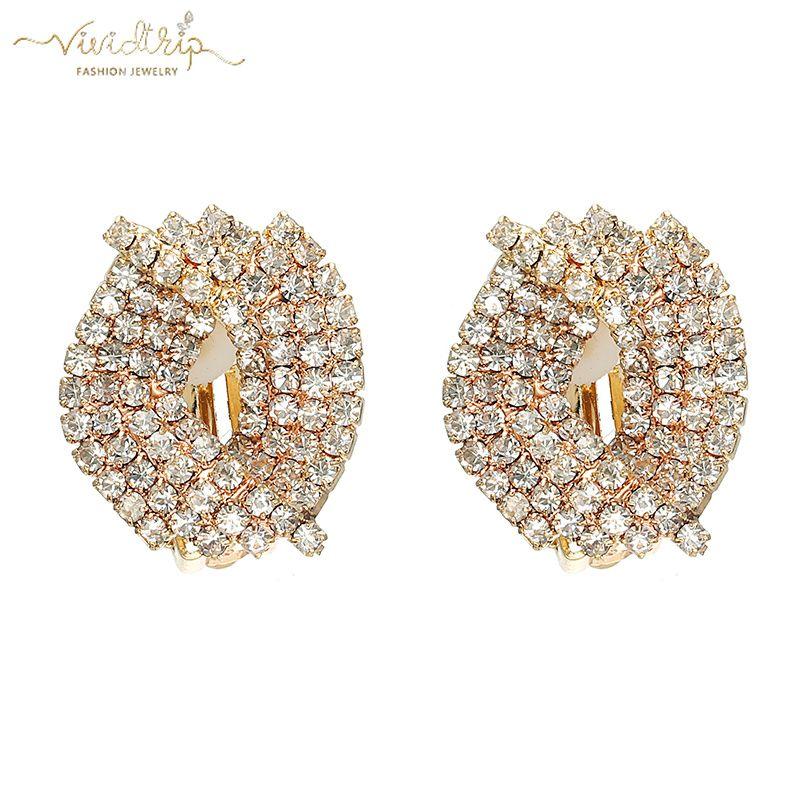 fbc4939d799674 Gold Pave Full Rhinestone Geometric Clip on Earrings for Women ...