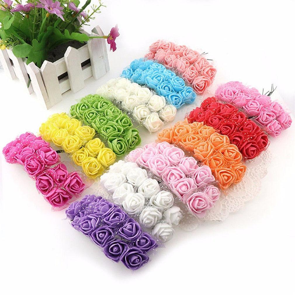144 Heads Mini Foam Rose Fake Floral Flower Heads Home Wedding Party Decor Bouquet Valentine's Day Gift