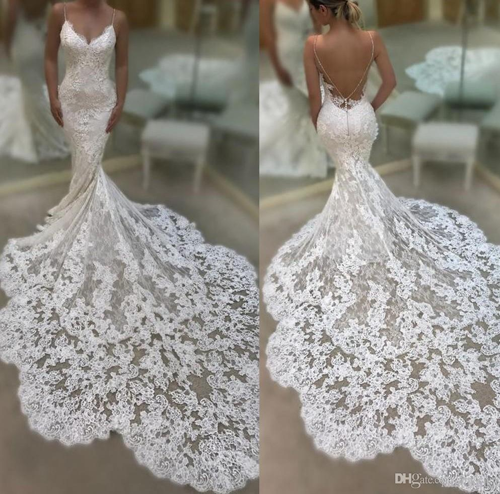 6156778478 Sexy Spaghetti Straps Backless Lace Mermaid Wedding Dresses Court Train  Cheap Wedding Dress Custom Made Plus Size Beach Bridal Gowns 2019 Halter  Mermaid ...