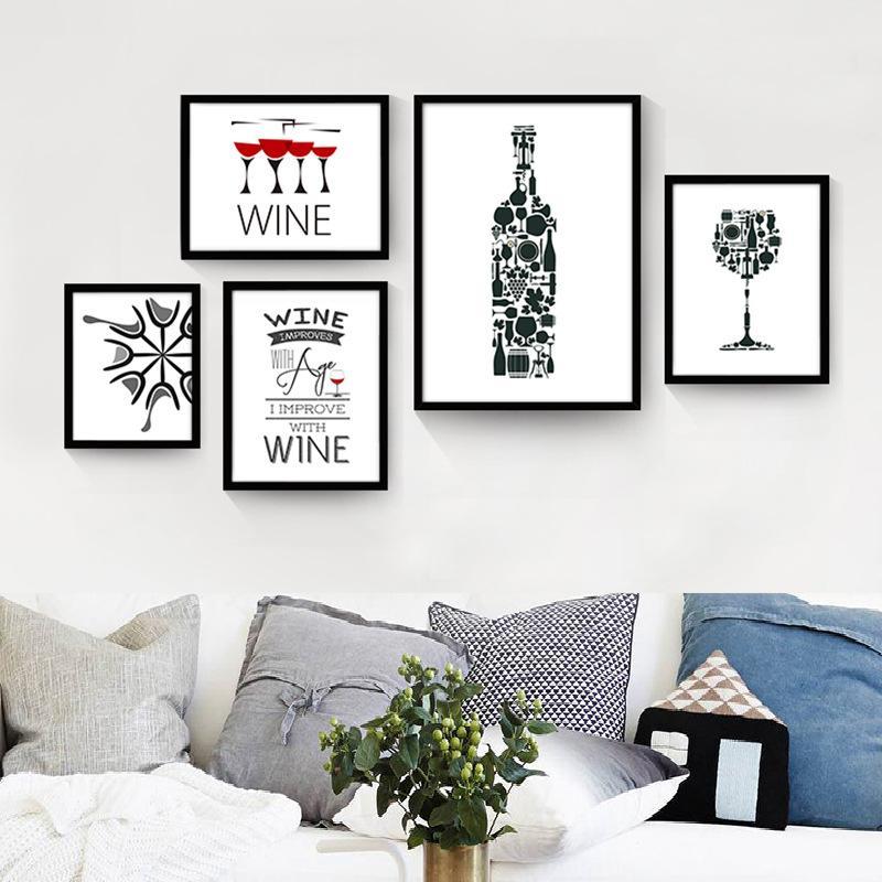 Malerei Moderne Küche Leinwand Gemälde Rotwein Tasse Flasche Wandkunst  Ungerahmt Gemälde Set Bar Esszimmer Dekor Bilder