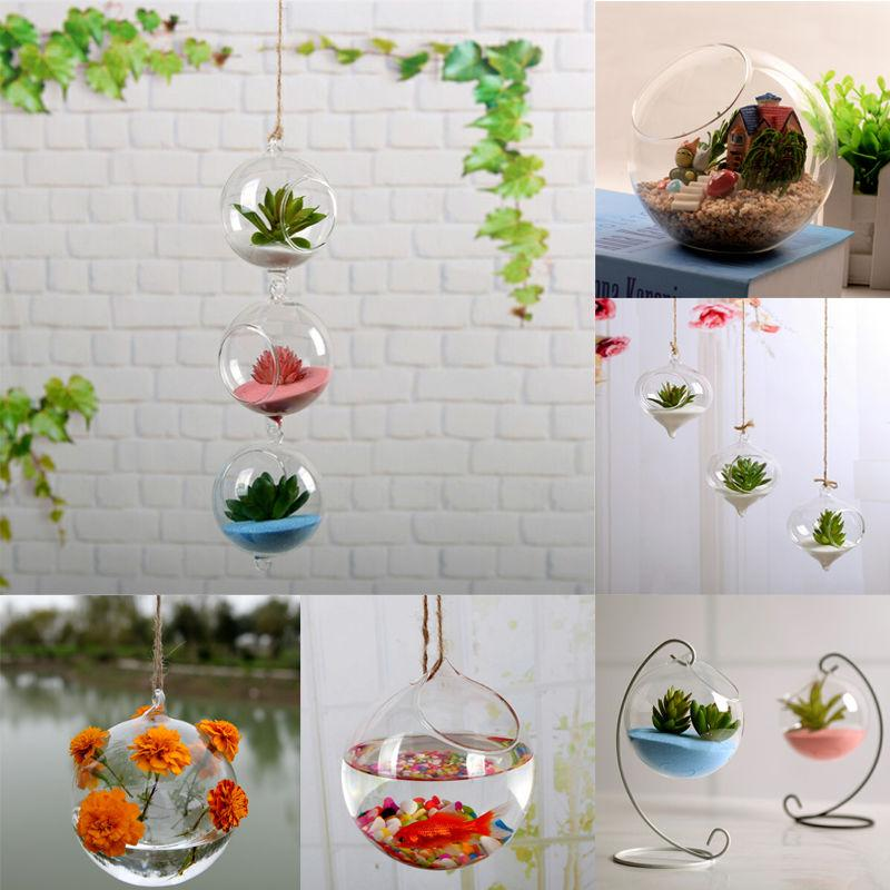 Hanging Terrarium Plant Flower Clear Container Hanging Vase Indoor