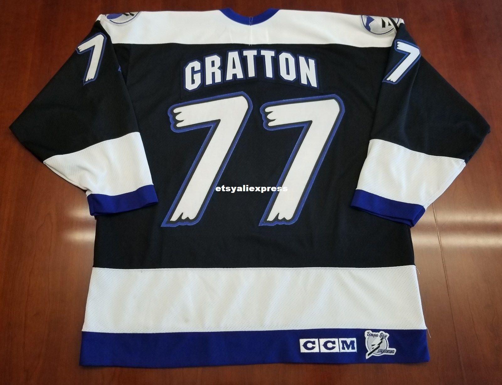 best service 9a91b e8331 Wholesale Chris Gratton #77 Tampa Bay Lightning Vintage CCM Cheap Hockey  Jersey Black Mens Retro Jerseys