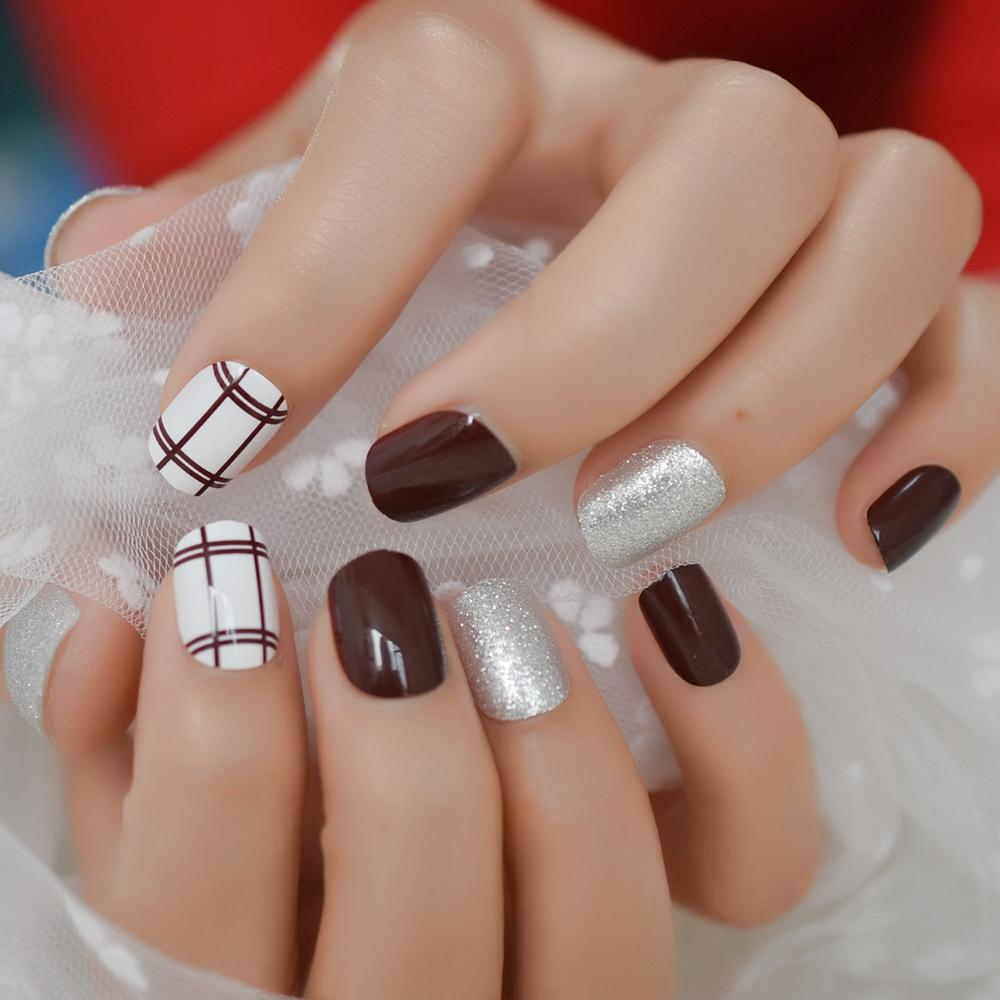 Squoval Short Glitter Designed Nails Brown Line grid Silver Powder Fake  Nail Stylish Event Acrylic Nail Art Tips