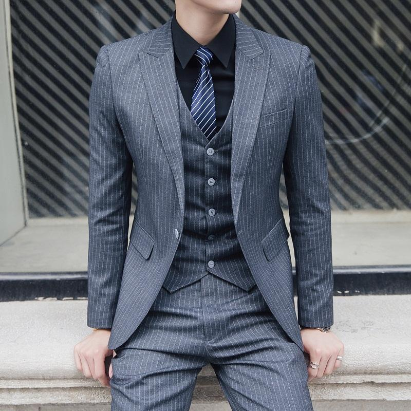 Striped Suit Mens Suit Three-piece Slim New Business Wedding Groom Wedding Casual Handsome British