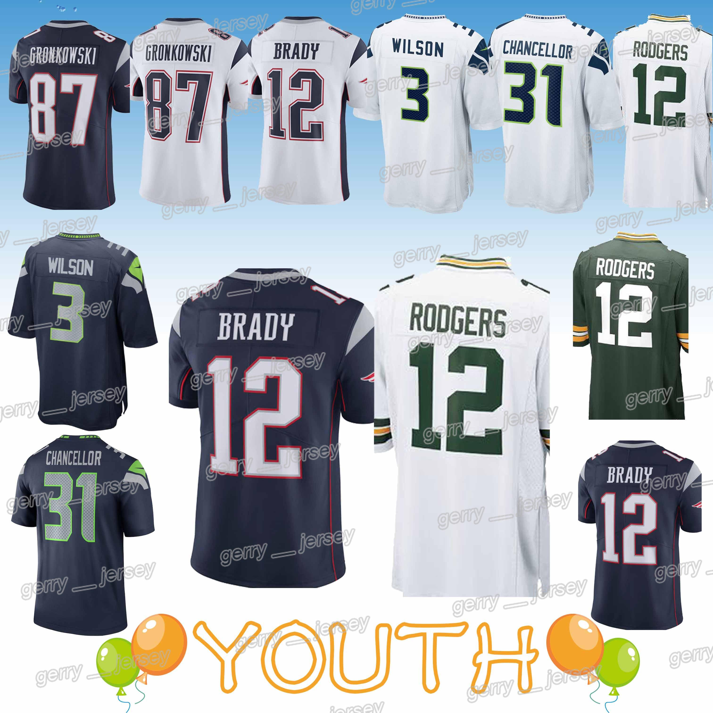d5aa0a39 Kids 12 Tom Brady New Patriot Green Bays 33 Packer Seattle 22 Seahawk  Jerseys 12 Aaron Rodgers 3 Russell Wilson new jersey YOUTH 2019