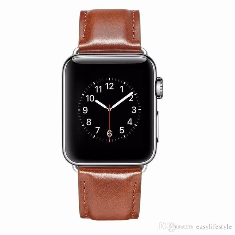 979cb86a3254 For Apple Watch Leather Band 38mm 42mm 40mm 44mm Series 4 3 2 1 Calf Skin  Strap Replacement Bracelet Iwatch Leather Strap Leather Strap For Watch  From ...