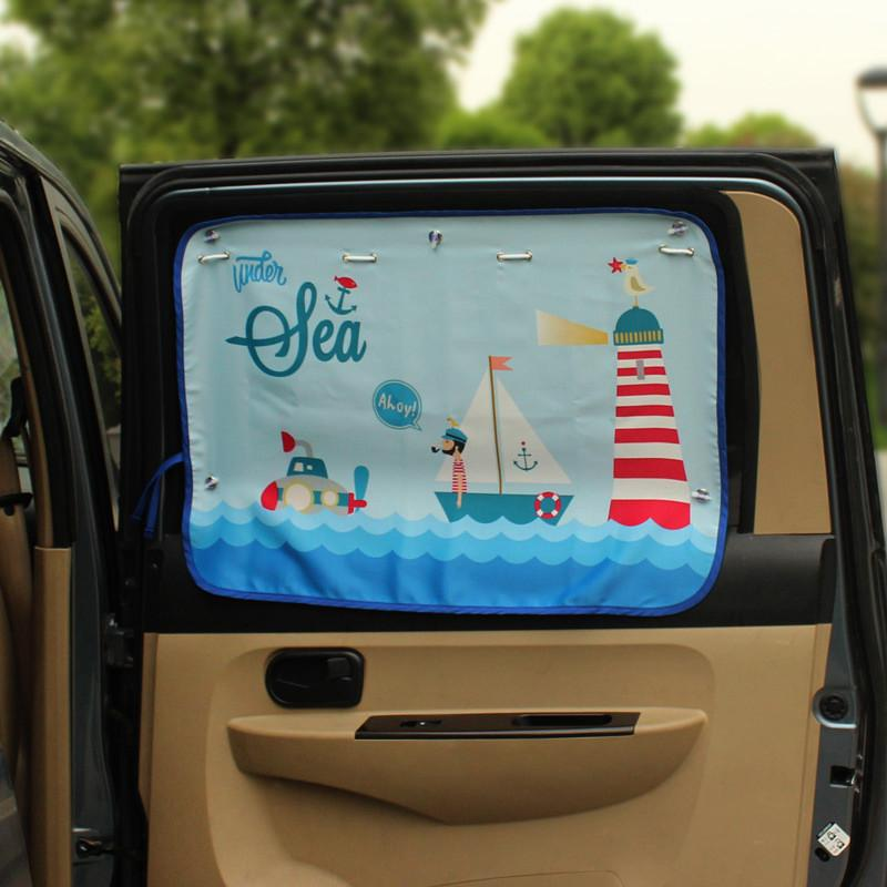 70*50cm Car Cartoon Curtain Cover Sun Blocking Auto Curtain Side Blocking Tensile Sunshade for Children car-styling