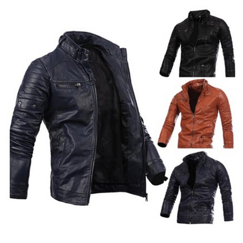 Mens Motorcycle Leather Jackets Male Slim Coats With Zipper Man Outerwear Stand Jackets with 3 Colors Asian Size S-3XL