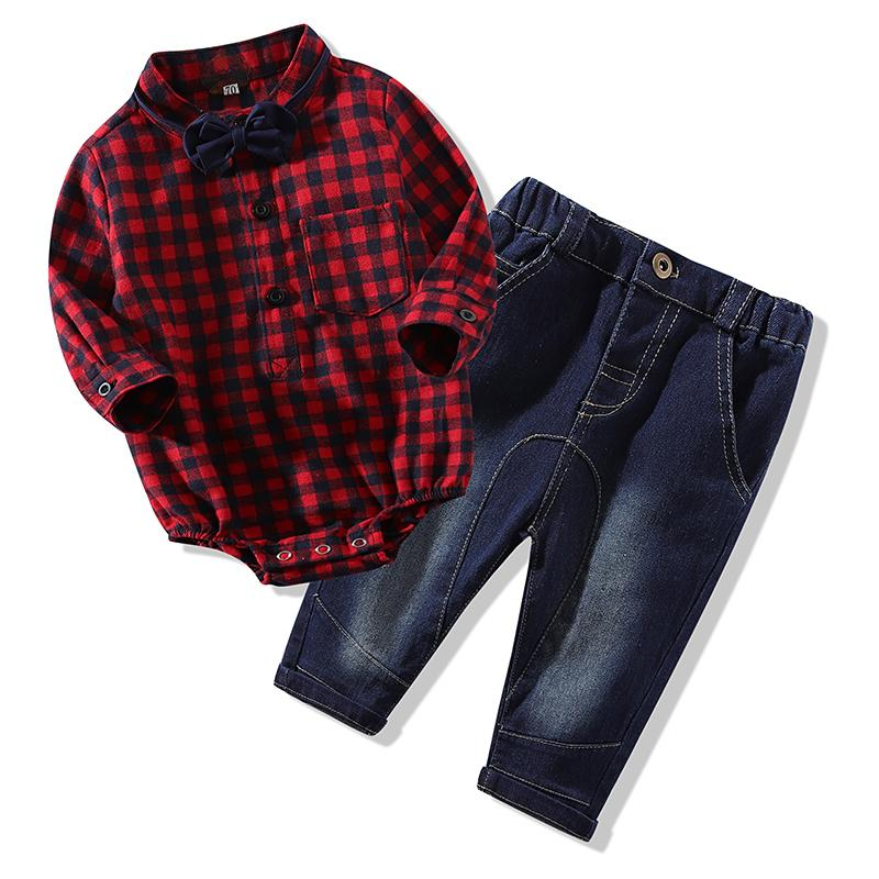 Newborns New Red Plaid Rompers Shirts+jeans Baby Boys Clothes Bebes Clothing Set Q190530