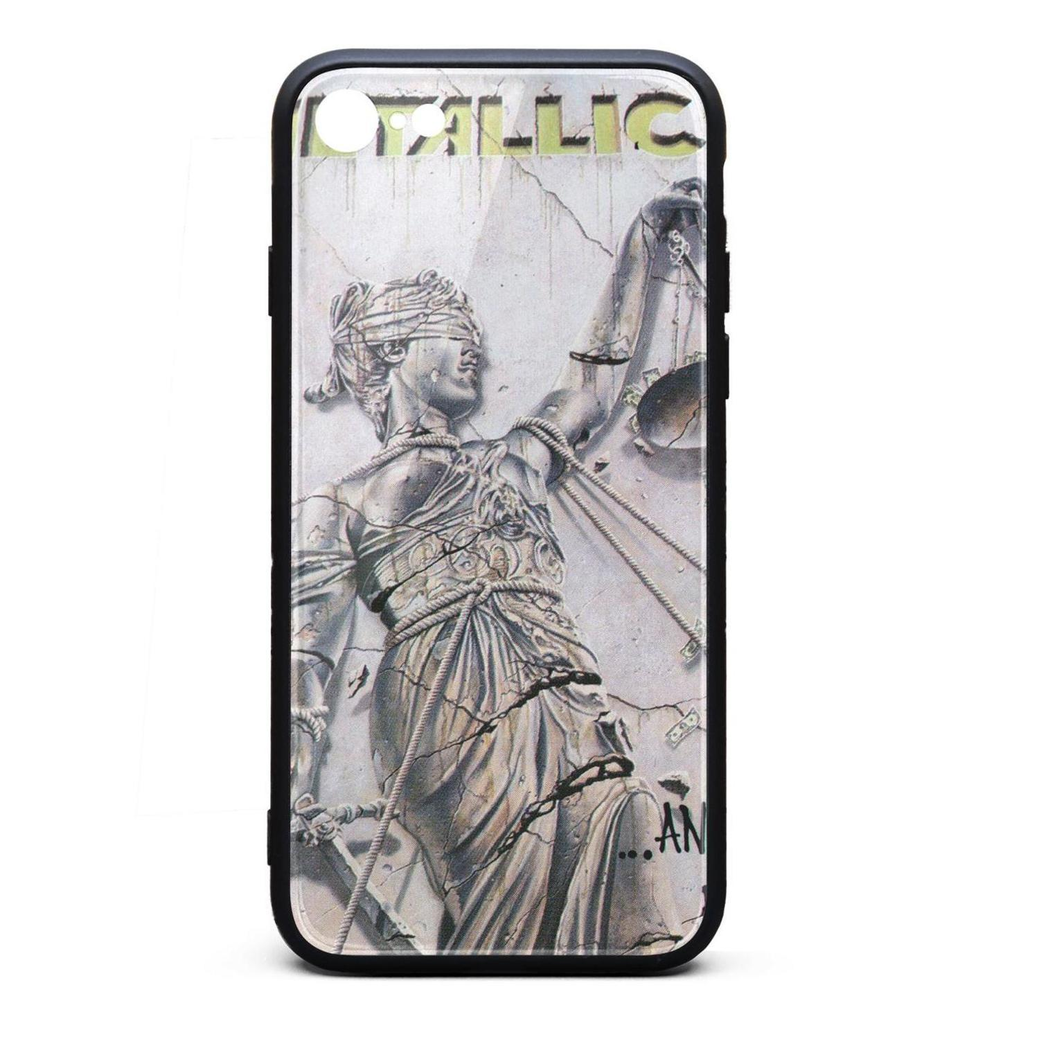 IPhone 6 Case,iPhone 6S Case Metallica And Justice For All front 9H Tempered Glass Cover TPU Bumper Shock Absorption Phone Case