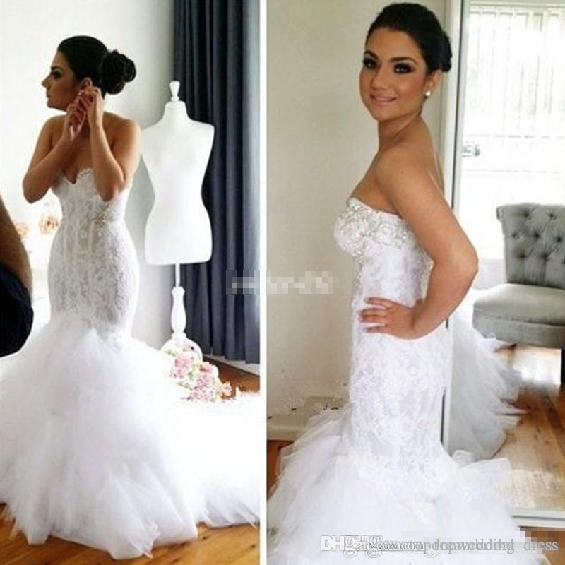 80be6fcc0254b2 2018 Lace Mermaid Wedding Dresses Bling Crystals Sweetheart Backless Tiered  Tulle Chapel Train Sexy Bridal Gowns For Spring Church Wedding Mermaid Dress  For ...