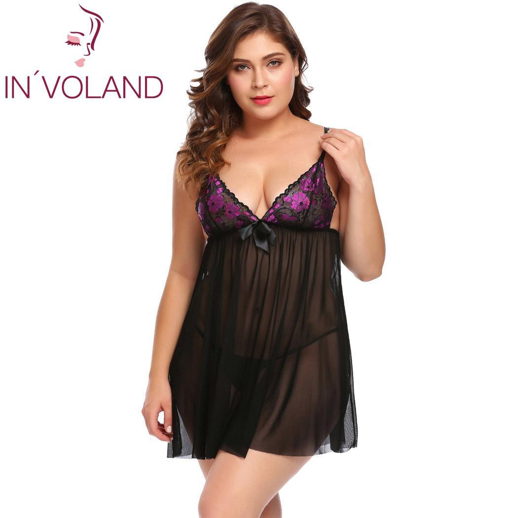 faf538894e7 IN VOLAND Plus Size Women Sleepwear Sexy Lingerie Sheer Babydoll Set with  G-String Lace Patchwork Nightwear Sexy Sleep Dress
