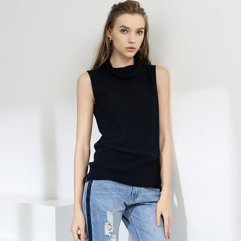 a4993aa666 2019 100% Cotton Knitted Tank Top Women Roll Neck Sleeveless Tops Spring  Summer Y19042801 From Jinzhiya, $41.99 | DHgate.Com