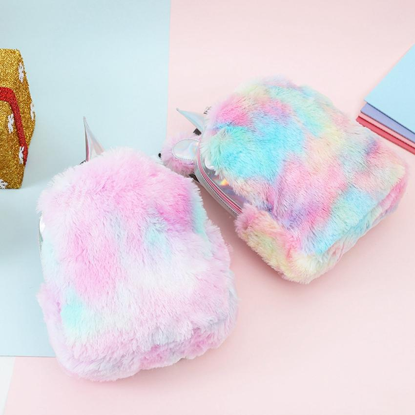 Mini Unicorn Backpack Bag For Ladies Hologram Leather Teenager Schoolbag Winter Fur Cute Small Backpacks LJJV438