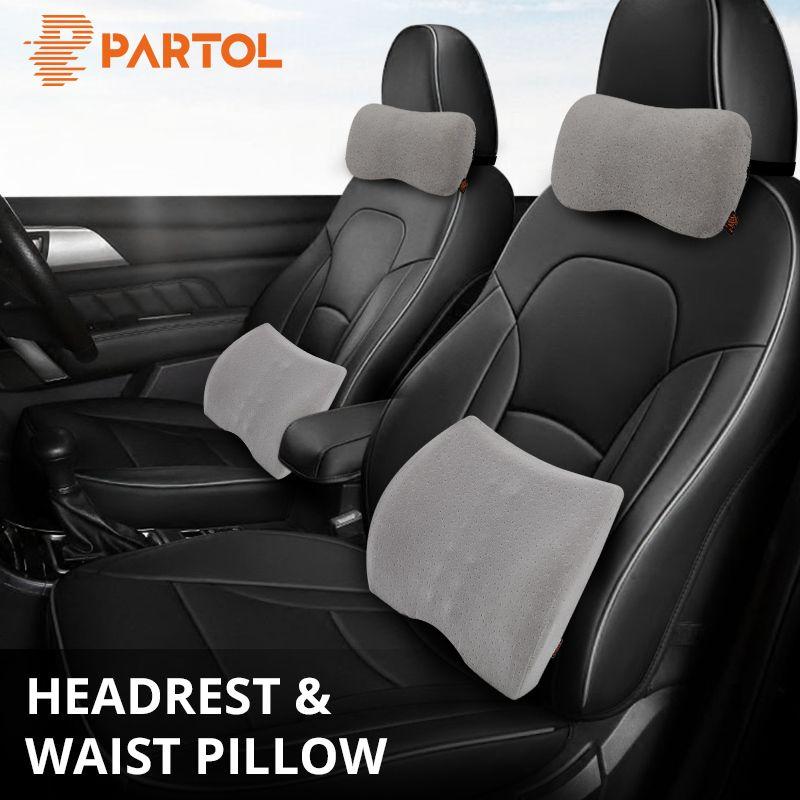 Partol Car Styling Support Headrest Pillow Neck Lumbar Back Cushion Pillow Lumbar Support Universal For Auto Office Home Seat C19041201