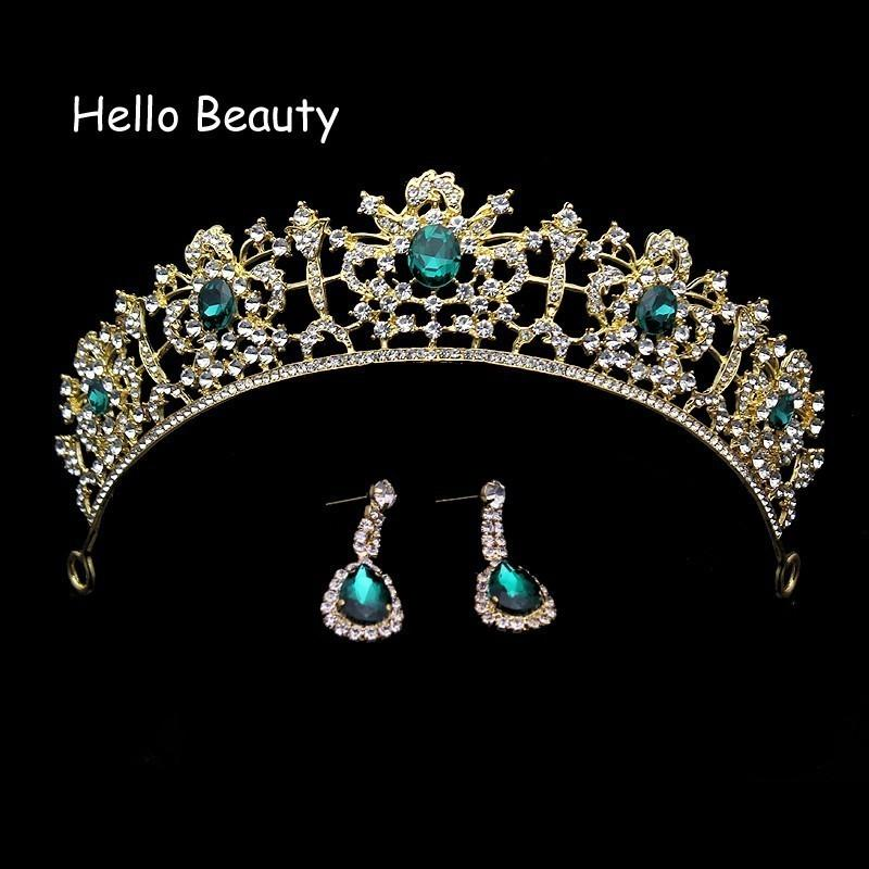 Baroque Red And Green Crystal Wedding Prom Tiara Rhinestone Bridal Hair Accessories Vintage Princess Pageant Crown For Bride D19011102