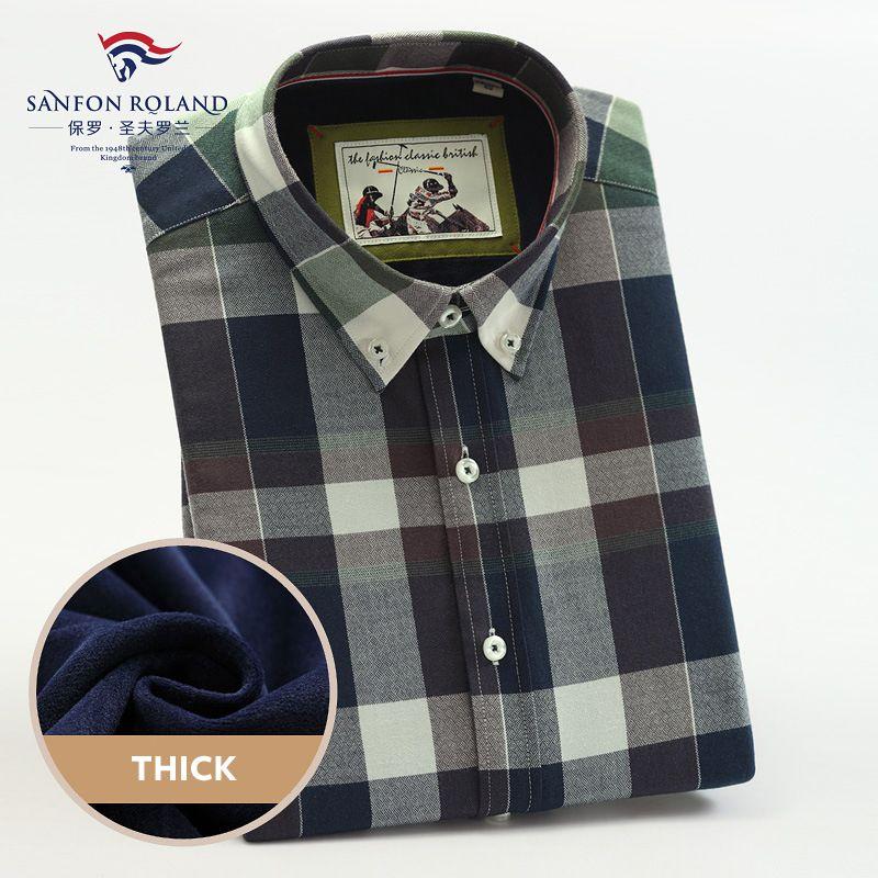 198c7a8d4134 Shirt Men Plaid Business Shirts Mens Casual Autumn Winter Spring ...