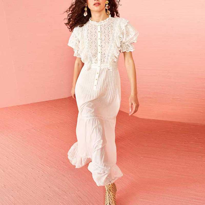 9dd1a2039f3a BOHO INSPIRED White Eyelet Women Dress Ruffle Button Up Sheer 2019 Spring Summer  Dress Short Sleeve Resorted Long Party White Dress Women Black Dress Casual  ...