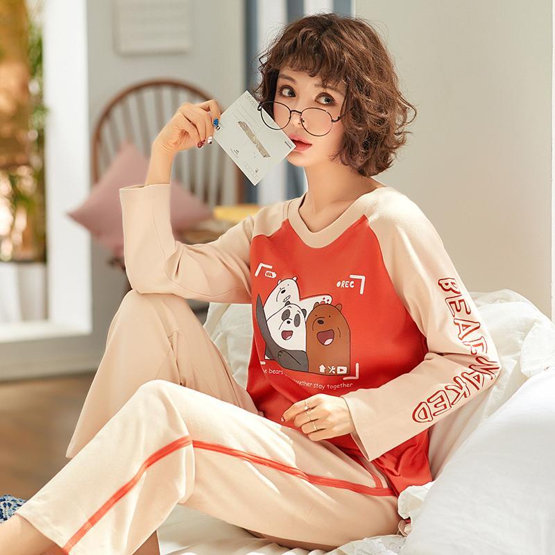 fca295fa651e2 Acheter Pyjamas Ensembles Femmes Casual Coton À Manches Longues De Nuit  Costume 2 Pièce Sexy Printemps Homewear Lounge Pantalon Costumes Vêtements  De Femme ...