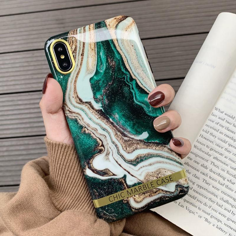 Artistic Agate Marble Gold Bar Phone Case For Iphone Xs Xr Xs Max 6 6s 7 8 Plus Glossy Soft Silicon Case Back Cover Capa