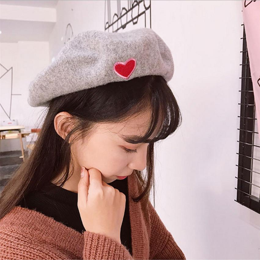 6991076b8f3 2019 New Solid Color Love Embroide Girls Korean Spring Warm Women ...