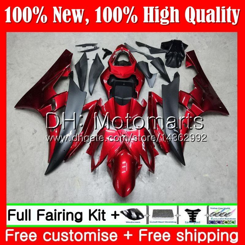 Cuerpo para YAMAHA YZF600 Rojo oscuro negro YZFR6 08 09 10 11 YZF-R600 91MT4 YZF 600 R 6 YZF-R6 YZF R6 2008 2009 2010 2011 Fairing Body Kit