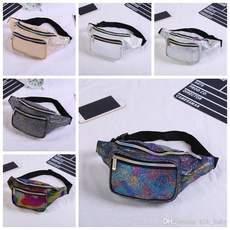 ed311458b3 Colorful Fanny Pack Shiny Waist Packs Hip Bag Women Waistband Banana Cheast  bag Unisex Outdoor Beach Travel Bag Purse AAA1545