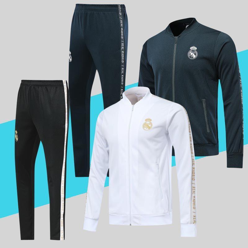 86745accc349f Acheter Real Madrid Soccer Jacket Survêtement 2019 2020 Gris Foncé Blanc  Top Qualité PRE MATCH Football Veste Pantalon Costume De $36.26 Du  Chenle258 ...