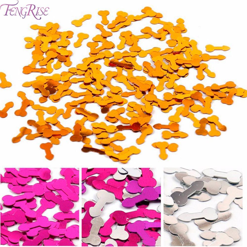 FENGRISE Willy Pénis Or Confettis De Table Scatters Bachelorette Partie Décoration Argent Glitter Partie De Poule Bling Confettis