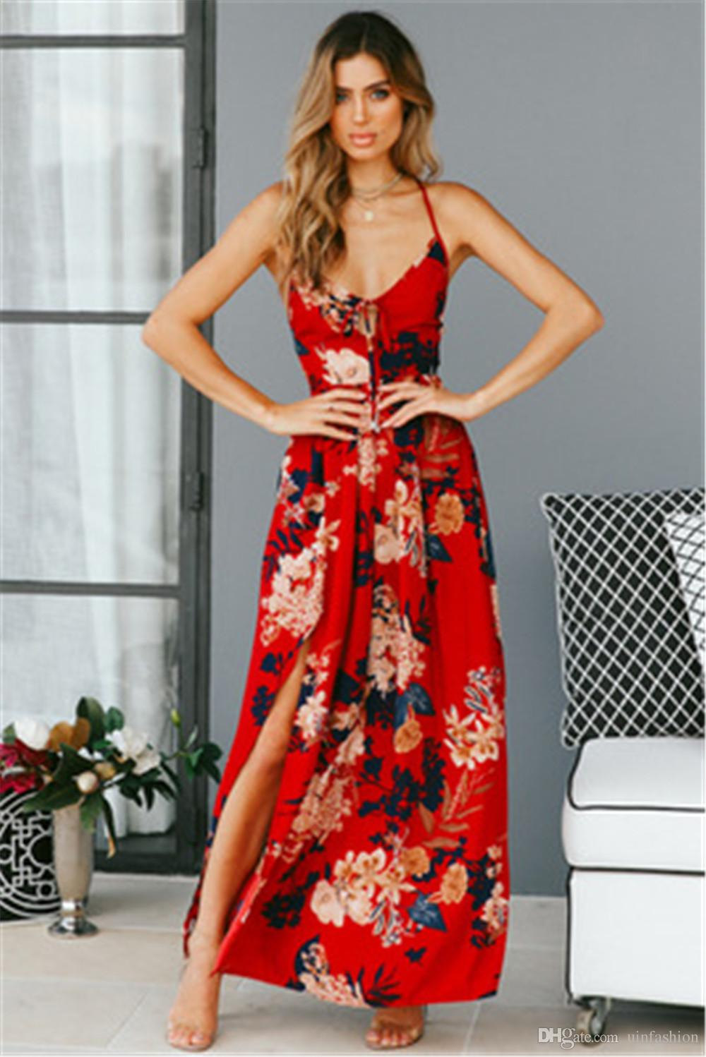 686d3d8045d Red Floral Print Maxi Dresses Sexy Lace Up V Neck Women Sleeveless Evening  Party Split Backless Boho Dress Brides Dress Summer Evening Dresses From ...