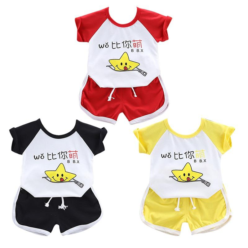 Neue Sommer Kinder Casual Sport Outfits Sets Baby Jungen Mädchen Kurzarm Cartoon Print Tops Bluse T-Shirt + Shorts Sets
