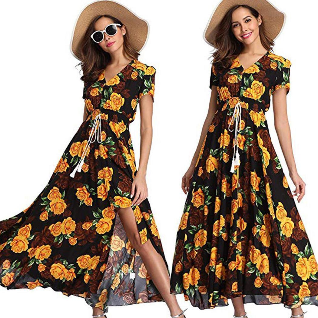 New Fashion Women Casual V-neck Short Sleeve Floral A-line Pleated Dress New Fashion Clothing / Clothing Accessories