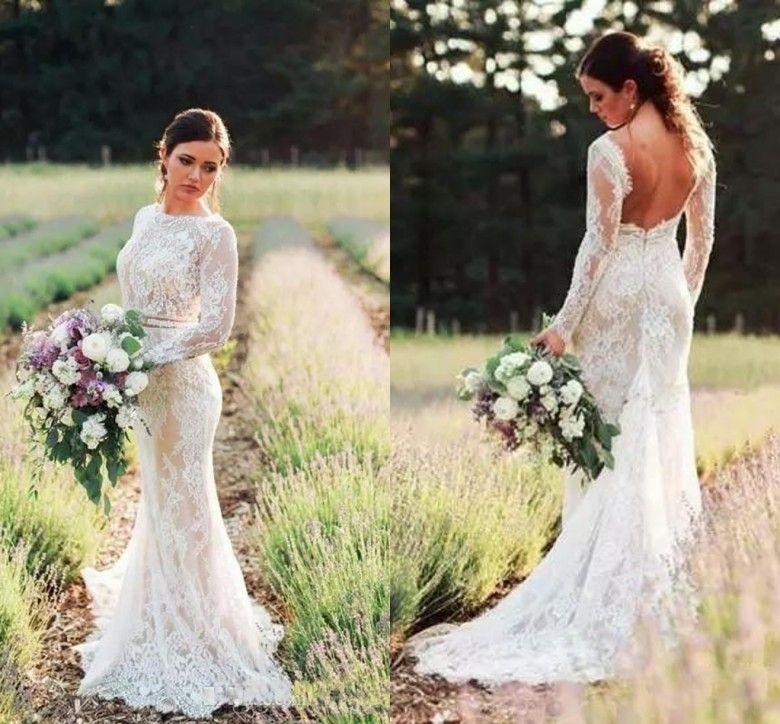 4029af66443 Romantic Bateau Neck Country Wedding Dresses 2019 Sexy Backless Long  Sleeves Mermaid Bridal Gowns Garden Sweep Train Vestido De Novia Wedding  Dress Sale ...
